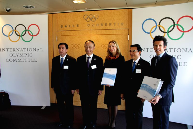 Vice Mayor of Beijing Zhang Jiandong, Minister of the General Administration of Sport of China and Chairman of the Chinese Olympic Committee Liu Peng, .