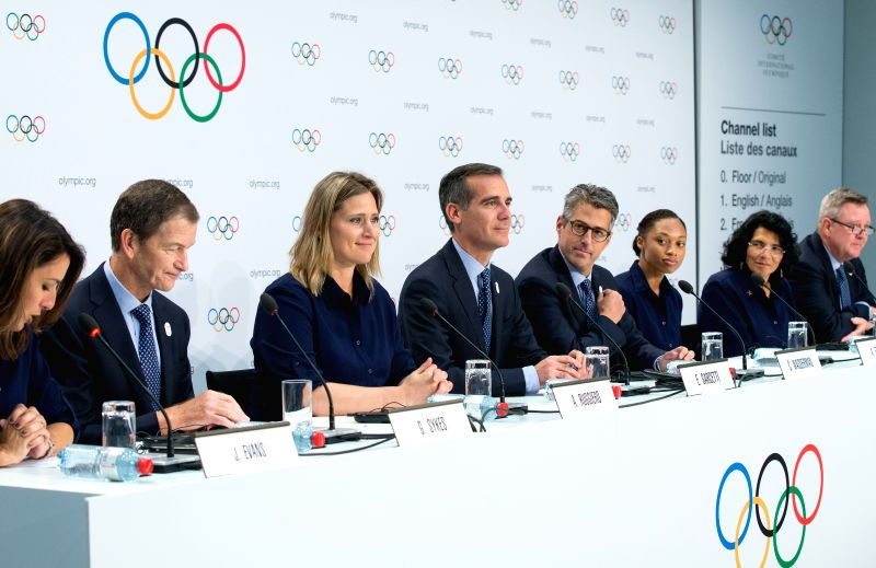 LAUSANNE, July 11, 2017 - Eric Garcetti (4th L), Mayor of Los Angeles, attends a press conference after the presentation of the Los Angeles 2024 Candidate City Briefing for International Olympic ...