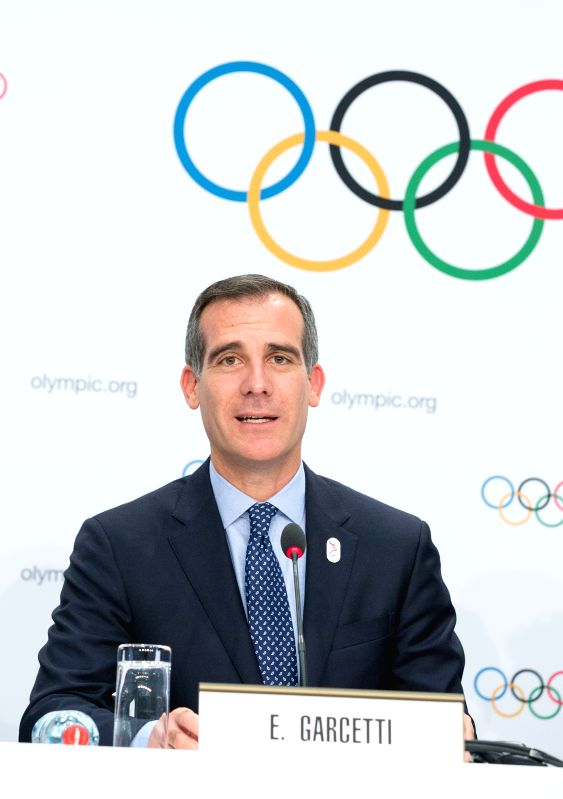 LAUSANNE, July 11, 2017 - Eric Garcetti, Mayor of Los Angeles, attends a press conference after the presentation of the Los Angeles 2024 Candidate City Briefing for International Olympic Committee ...