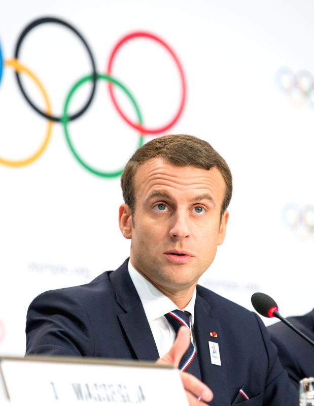LAUSANNE, July 11, 2017 - French President Emmanuel Macron holds a press conference after the presentation of the Paris 2024 Candidate City Briefing for International Olympic Committee (IOC) members ...