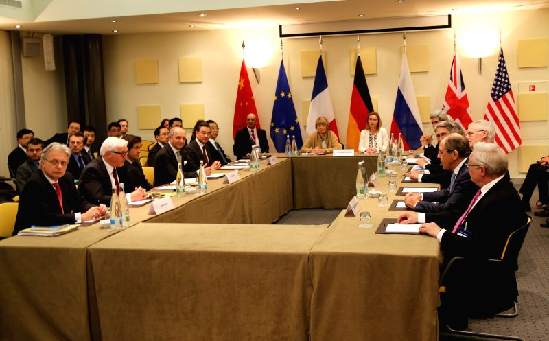 Photo taken on March 29, 2015 shows the general view of the plenary session on Iran's potential nuclear framework deal in Lausanne, Switzerland. Foreign ministers ...