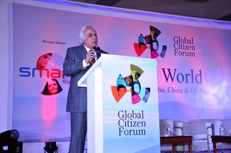 Law Minister Kapil Sibal addresses at the Global Conclave organised in New Delhi on Jan.3, 2014. - Kapil Sibal