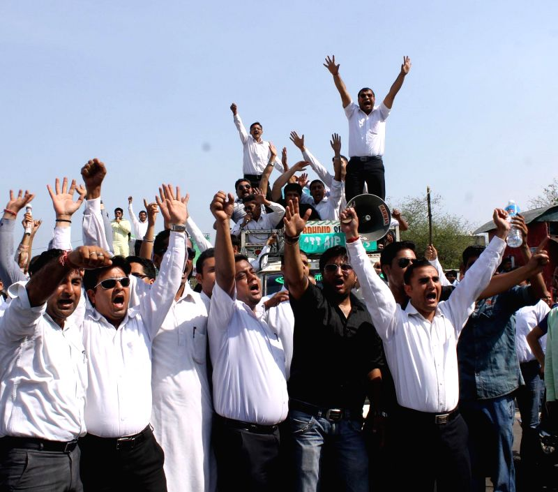 Lawyers of Jammu Bar Association demonstrate during a Jammu Bandh on May 5, 2014.