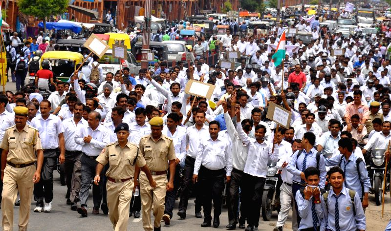 Lawyers participate in a protest rally in Jaipur on Aug 4, 2014.