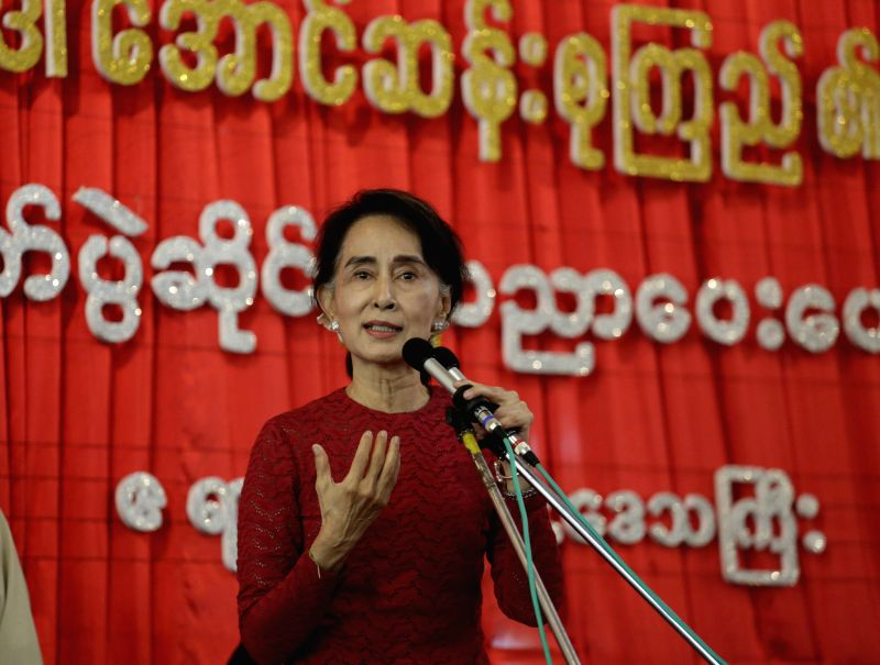 Leader of Myanmar's National League for Democracy (NLD) Aung San Suu Kyi speaks during a voter education campaign at Kyitelatt township in Ayeyarwady Region of ...