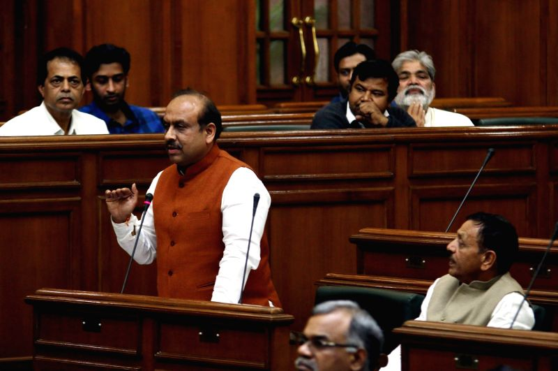 Leader of Opposition in Delhi Assembly Vijender Gupta addresses in Delhi assembly during on the last day of winter session on Dec 4, 2015. - Assembly Vijender Gupta