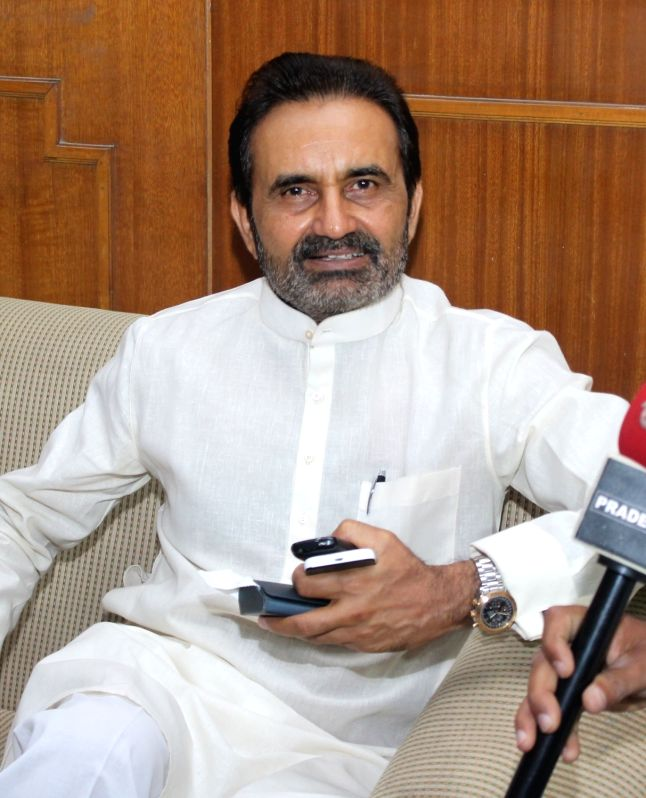 Leader of Opposition in Gujarat Assembly Shaktisinh Gohil during a press conference in Nagpur, on May 26, 2016.