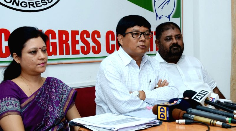 Leader of Opposition in the Assam Assembly Debabrata Saikia addresses a press conference in Guwahati on Aug 2, 2016.