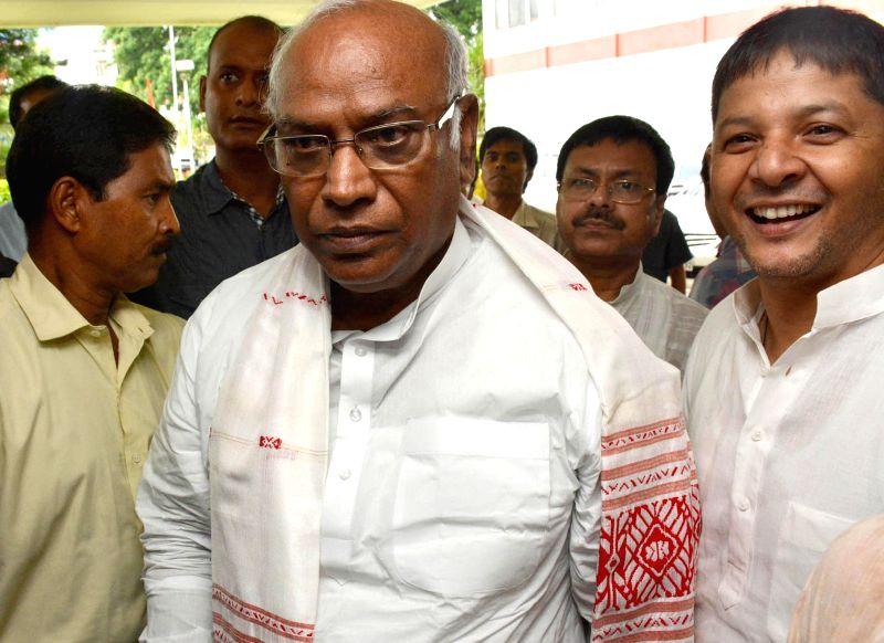 Leader of the Congress parliamentary party in Lok Sabha Mallikarjun Kharge in Guwahati on June 23, 2014.