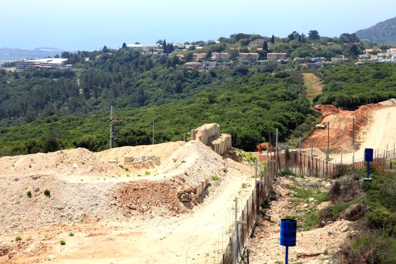 LEBANESE-Photo taken on April 20, 2017 shows the fence along Lebanese-Israeli borders. The Lebanese militant party Hezbollah organized Thursday a tour along ...