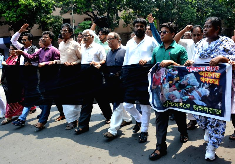 Left and Congress legislators participate in a rally organised to condemn 22nd May police action on protesters in Kolkata, on May 23, 2017.