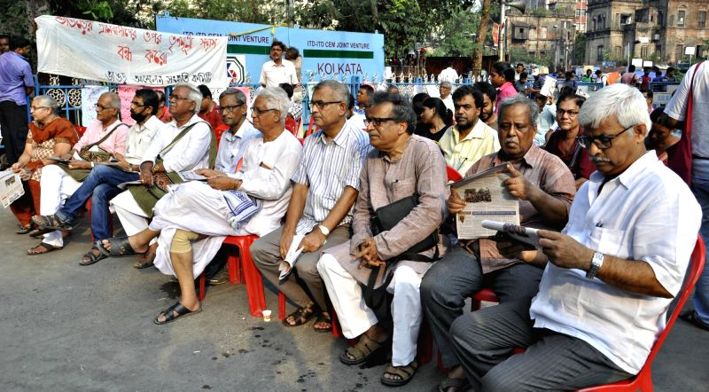 Left front leaders and activists participate in a protest rally against West Bengal Government regarding Bhangar violence in Kolkata on June 6, 2017.