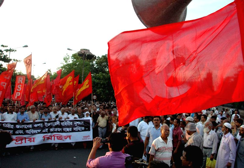 Left front takes out a protest rally to condemn Israeli attack on Gaza in Kolkata on August 1, 2014.
