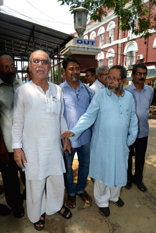 Left leaders come out of Kolkata police head quarter after submitting a deputation at Lalbazar in Kolkata on May 24, 2016.