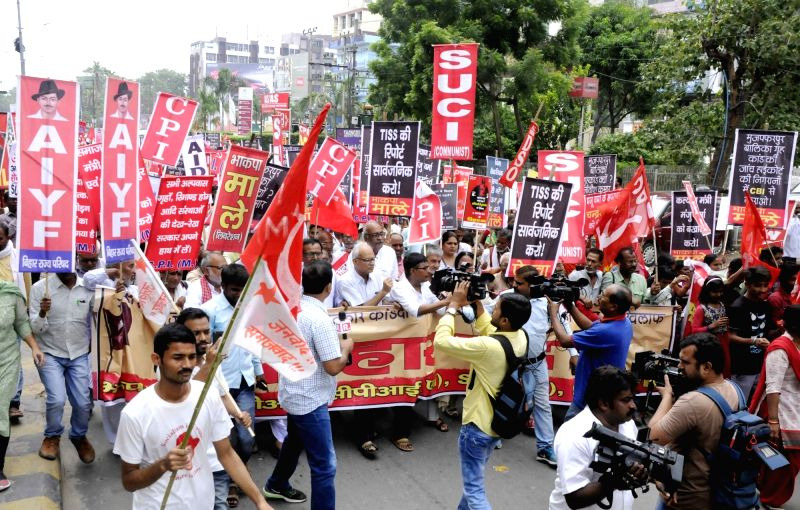 Left party workers stage a demonstration during a shutdown called by the Left parties in Bihar against the rape of 34 minor girls at a shelter home in Muzaffarpur district; in Patna on Aug 2, ...