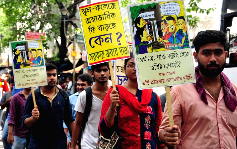 Leftist students stage a demonstration against West Bengal Government in Kolkata on July 16, 2018.