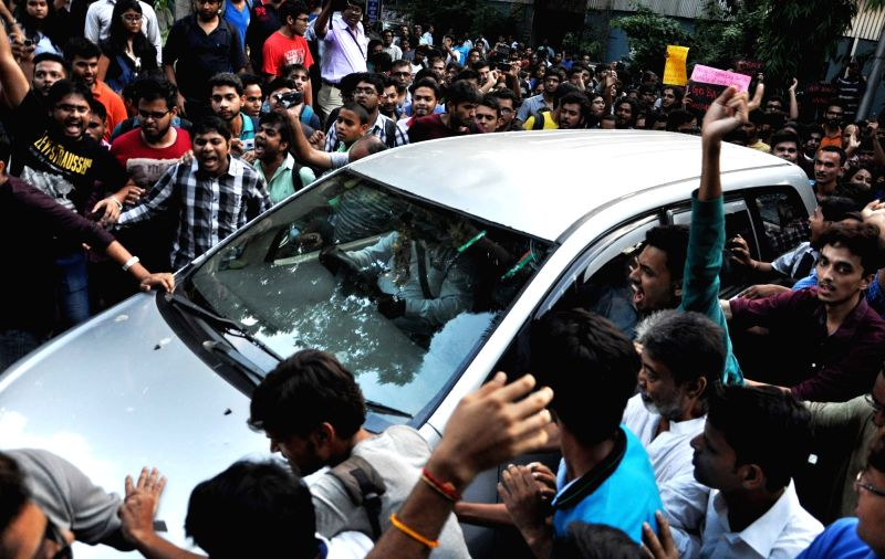 Leftist students union of Jadavpore University demonstration and blocked the car of film director of 'Buddha In A Traffic Jam', Vivek Agnihotri at Jadavpore University campus in Kolkata on ...