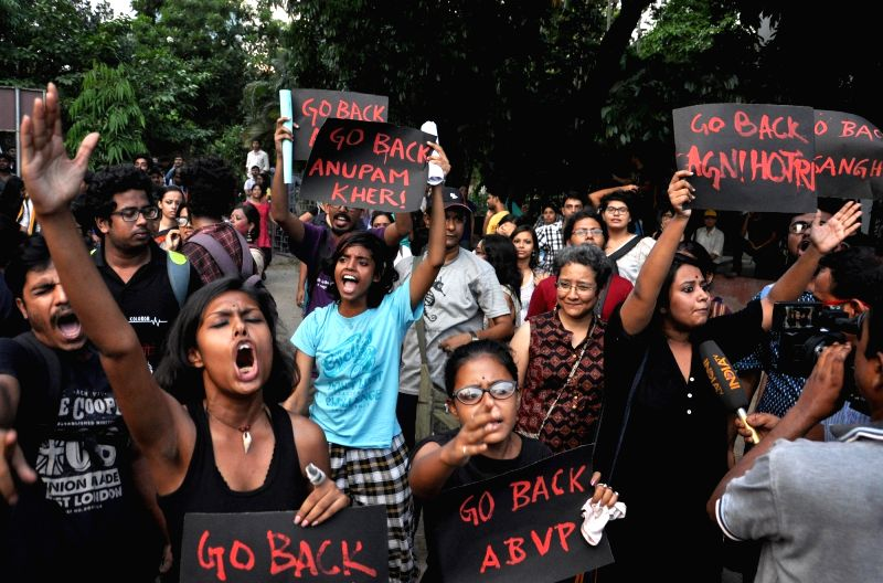 "Leftist students union of Jadavpore University demonstration against ABVP, RSS and film screening of ""Buddha In A Traffic Jam"" at Jadavpore University campus in Kolkata on May 6, ..."