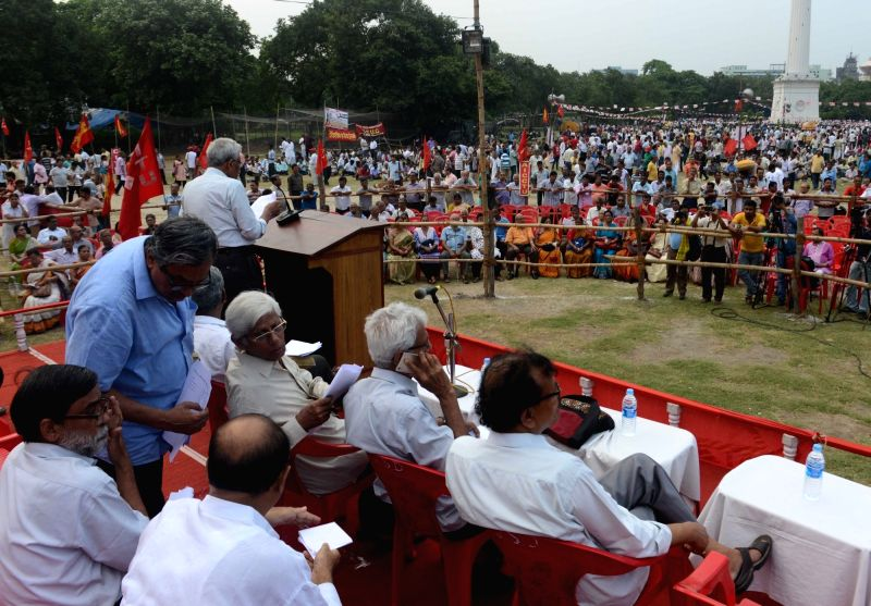 Leftist Trade Unions organise a programme on International Workers' Day at Sahid Minar in Kolkata on May 1, 2017.