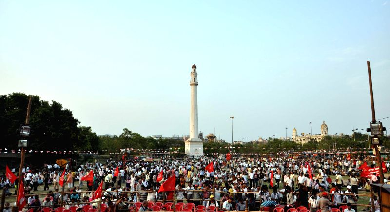 Leftists participate in a rally organised on International Workers' Day in Kolkata on May 1, 2014.