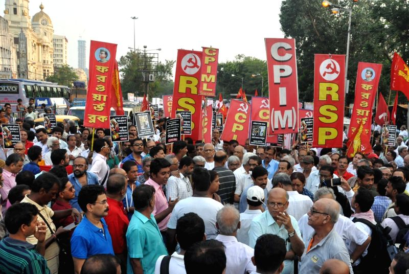 Leftists participate in a rally organised to condemn 22nd May police action on protesters in Kolkata, on May 23, 2017.