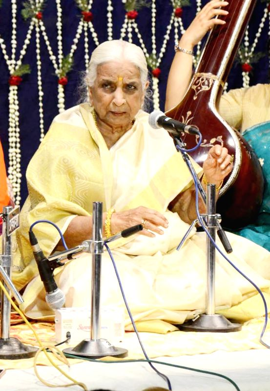 Legendary classical singer Girija Devi performs during a programme in Varanasi on April 21, 2017.