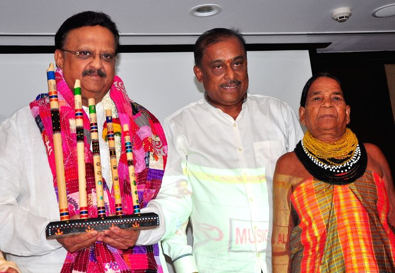 "Legendary singer Dr. SP Balasubrahmanyam with Sukri Bomma Gowda and Hamsalekha at the launch of ""IYDANI"" a redefine folk tradition of India, in Bengaluru on May 27, 2017."
