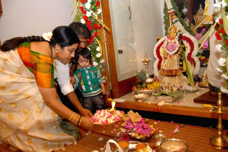 Legislator Tara performs pooja on Varamahalakshmi festival at her residence in Bangalore on Aug 8, 2014.