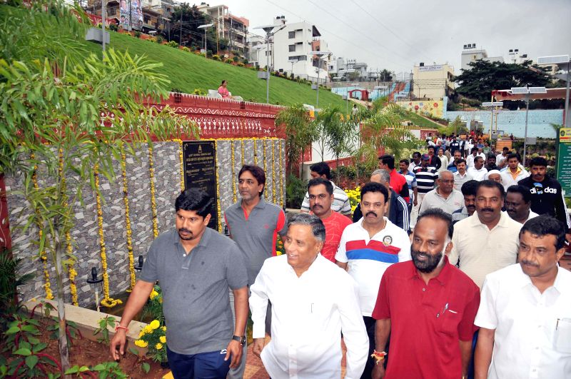 Legislator V Somanna at the inauguration of Hi-tech Chandragiri Park at Chandra Layout in Bangalore on Sept 1, 2014.