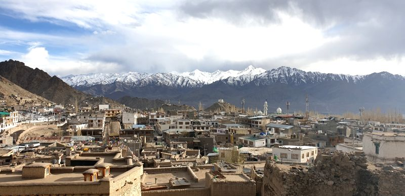 Leh: A view of the snow-covered mountains in Leh, Jammu and Kashmir. A high-desert city in the Himalayas, Leh is the capital of the Leh region in northern India's Jammu and Kashmir. It is known for its Buddhist sites and nearby trekking ar