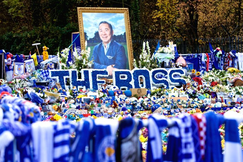 Tributes left for Leicester City chairman Vichai Srivaddhanaprabha(Image Source: Xinhua/IANS)