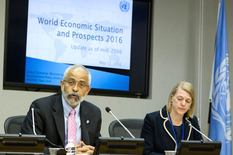 Lenni Montiel, left, UN Assistant Secretary-General for Economic Development, and. Dawn Holland, a senior economics affairs officer at the UN,  brief journalists Thursday after  the launch of the ...