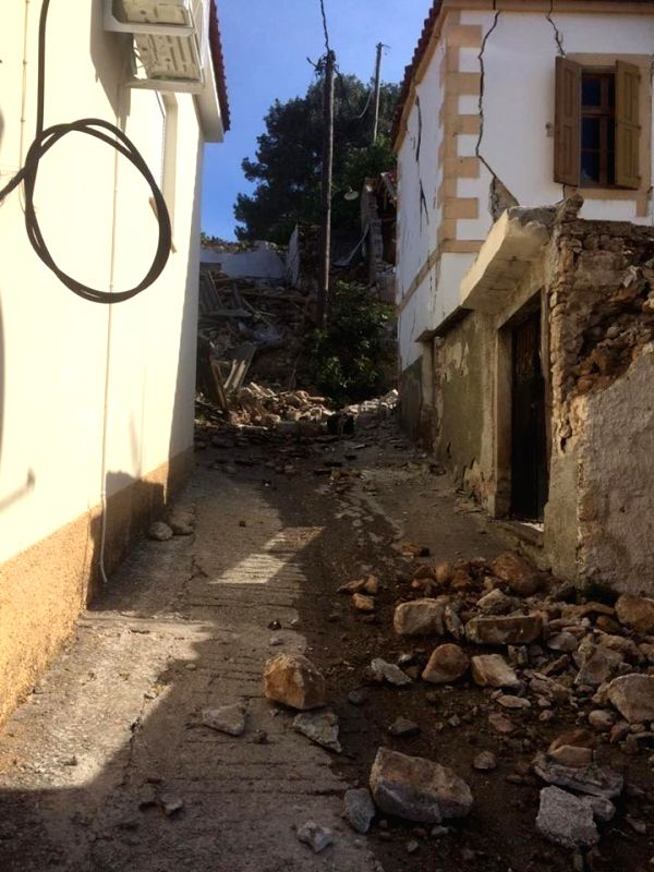 LESVOS ISLAND (GREECE), June 12, 2017 A house is seen damaged after an earthquake in Lesvos Island, Greece, on June 12, 2017. At least one person was killed and another 11 were injured ...