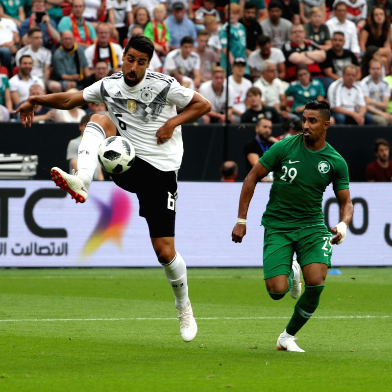 LEVERKUSEN, June 9, 2018 - Sami Khedira (L) of Germany vies with Salem Al-Dawsari of Saudi Arabia during the international friendly match between Germany and Saudi Arabia at Bay Arena on June 8, 2018 ...