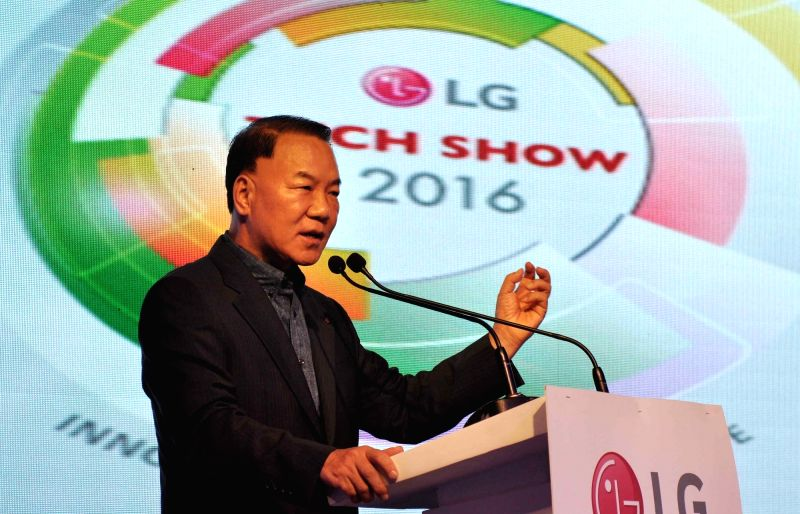 LG India managing director Ki Wan Kim addresses during launch of LG products at LG Tech Show 2016 in Kolkata on July 28, 2016. - K