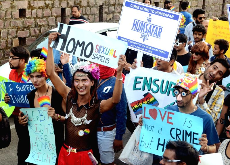 LGBT supporters participate in a pride parade in Bhopal on May 17, 2017.