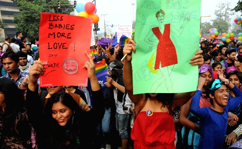 LGBT supporters ​participate in the Delhi Queen Pride 2015 in New Delhi on Nov 29, 2015.