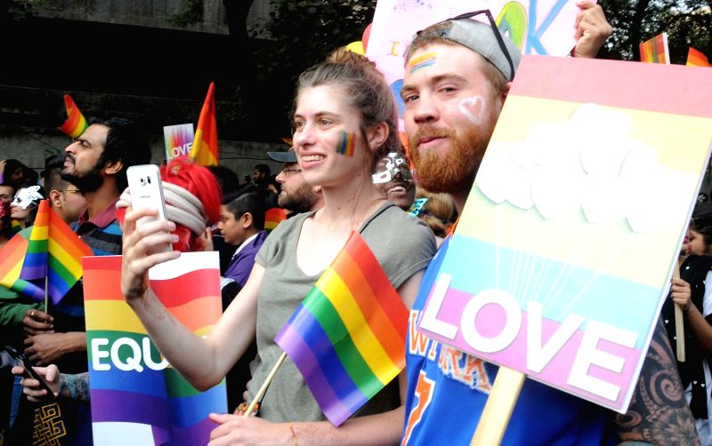 LGBT supporters participate in the Delhi Queen Pride 2015 in New Delhi on Nov 29, 2015.