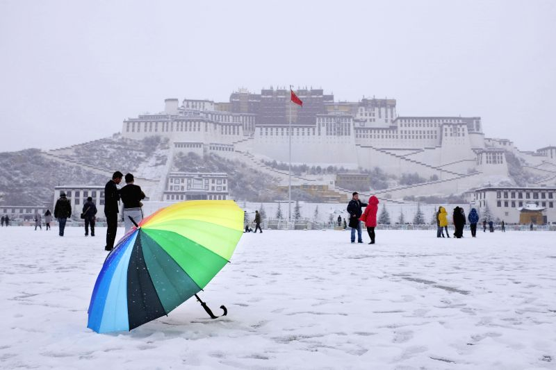 Photo taken on Jan. 8, 2015 shows the scenery of the Potala Palace after a snowfall in Lhasa, capital of southwest China's Tibet Autonomous Region. The city saw this ..