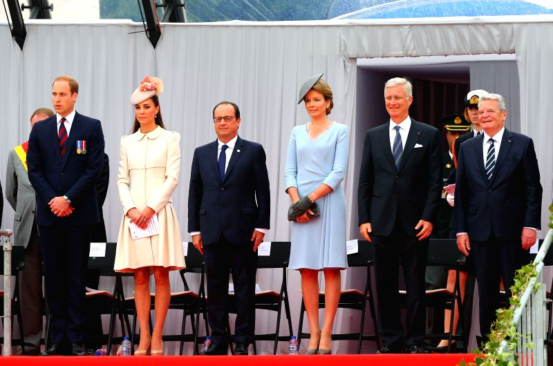 British Prince William, British Duchess of Cambridge Catherine, French President Francois Hollande, Belgian Queen Mathilde, Belgian King Philippe, German President ...