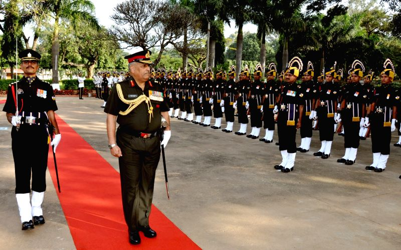 Lieutenant General RP Rai inspects Guard of Honor during the 10th Reunion and 255th Anniversary of Army Service Corps at Indian Army ASC Centre and College, in Bengaluru on Dec 7, 2015.