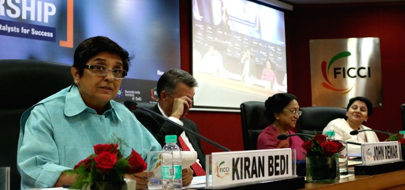 Lieutenant Governor of Puducherry Kiran Bedi addresses during a FICCI programme in New Delhi, on May 1, 2017. - Puducherry Kiran Bedi