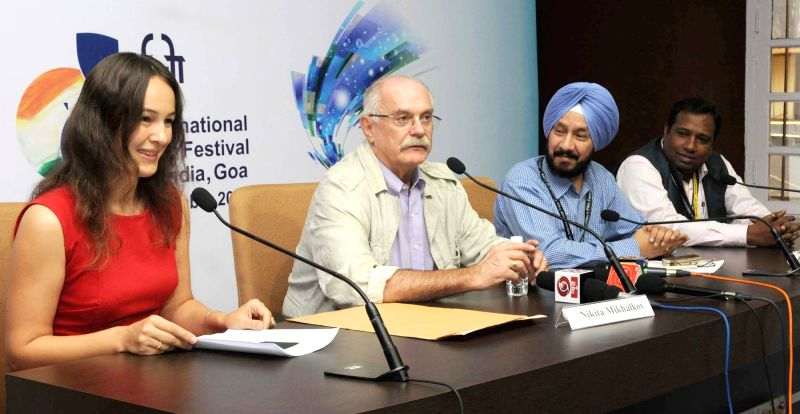 Life Time Achievement Awardee, Nikita Mikhalkov addresses a press conference, at the 46th International Film Festival of India (IFFI-2015), in Panaji, Goa on Nov 25, 2015.