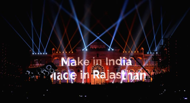 Light and sound show during the Resurgent Rajasthan Partnership Summit - 2015 at Janpath in Jaipur on Nov 19, 2015.