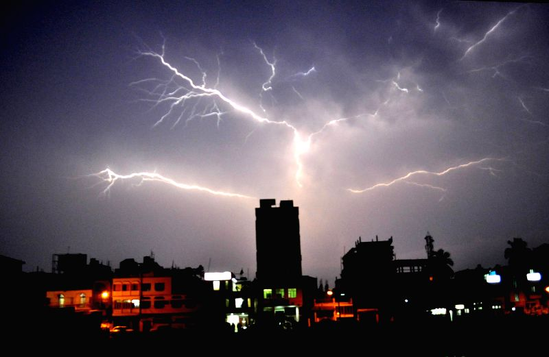 Lightening strikes across the skies of Agartala on April 27, 2014.