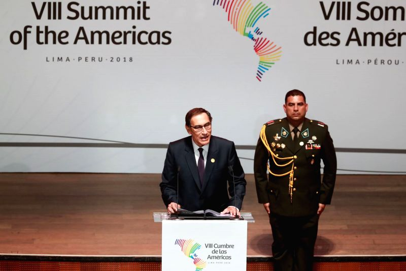 LIMA, April 14, 2018 - Peru's President Martin Vizcarra (L) addresses the opening ceremony of the eighth Summit of the Americas in Lima, Peru, on April 13, 2018. The summit wil end on Saturday.