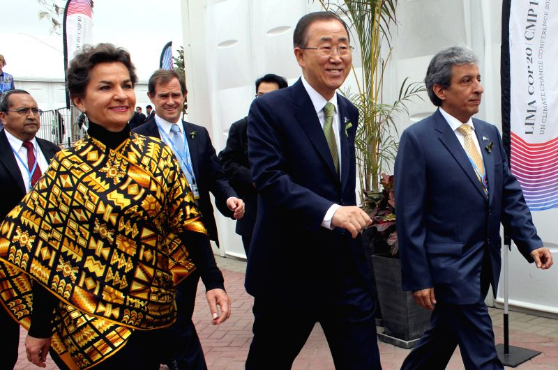 Lima :Christiana Figueres (L), executive secretary of the Framework Convention on Climate Change of the United Nations, United Nations Secretary-General Ban Ki-moon (C) and COP 20/CMP 10 President ...