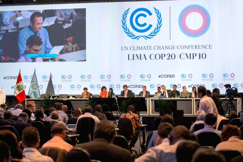 Delegates attend the opening plenary session of the Ad Hoc Working Group on the Durban Platform for Enhanced Action (ADP) in Lima, capital of Peru, Dec. 2, 2014.