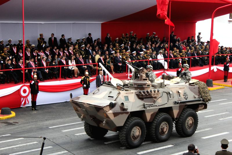 A military tank participates in the military parade as part of the celebration activities  of the Independence Day of Peru on the Brazil avenue in Lima city, capital ..