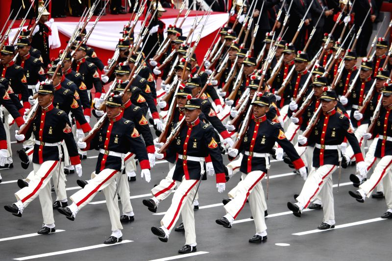 LIMA, July 30, 2016 - A military parade is held in commemoration of the 195th anniversary of Peruvian Independence from Spain, in Lima, capital of Peru, on July 29, 2016.